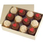 Valentines Vanilla Chocolate Cupcakes x 12